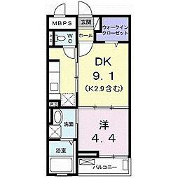 サンリット スクエア 2階1DKの間取り
