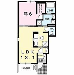 メルヴェーユ フィールド I 1階1LDKの間取り