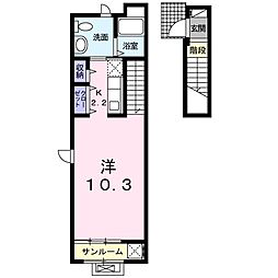 JR仙山線 愛子駅 徒歩5分の賃貸アパート 2階1Kの間取り