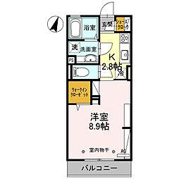 D-roomBusiness小山 3階1Kの間取り