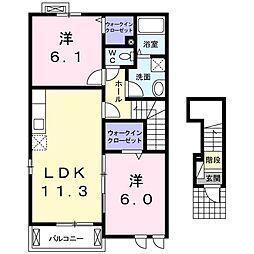 リュミエールレーヴA 2階2LDKの間取り