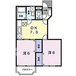 アサヒコーポ桜III 1階2DKの間取り