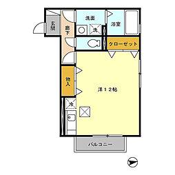 ミルテ 1階ワンルームの間取り