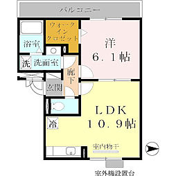 近鉄天理線 前栽駅 徒歩17分の賃貸アパート 3階1LDKの間取り