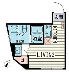 都営大江戸線 西新宿五丁目駅 徒歩14分の賃貸マンション 1階ワンルームの間取り