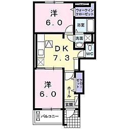 ダンデリオン 1階2DKの間取り