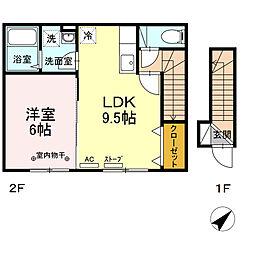 グランモア桜川 ABC 2階1LDKの間取り