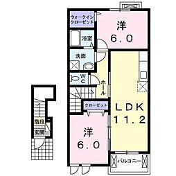 ラフテル 2階2LDKの間取り