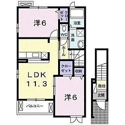 グリチーネ フィオーレ 2階2LDKの間取り