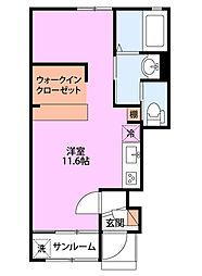 JR越後線 関屋駅 徒歩9分の賃貸アパート 1階ワンルームの間取り