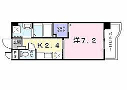 グリーンコートIII番館 4階1Kの間取り