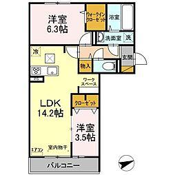 仮)D-room松戸新田 A 1階2LDKの間取り