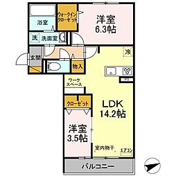仮)D-room松戸新田 A 2階2LDKの間取り