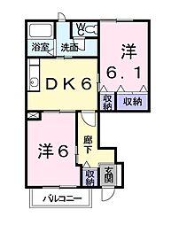 レジデンス桐ノ木 I 1階2DKの間取り