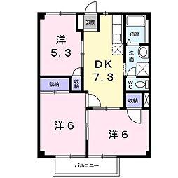 グリーンハイム清宮 2階3DKの間取り