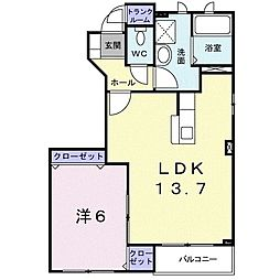 JR函館本線 岩見沢駅 徒歩18分の賃貸アパート 1階1LDKの間取り