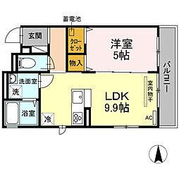 湘南新宿ライン宇須 新川崎駅 徒歩16分の賃貸アパート 2階1LDKの間取り