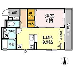 OKUE II 3階1LDKの間取り