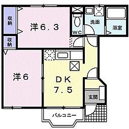ソレアード 1階2DKの間取り