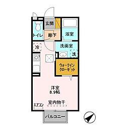 JR常磐線 土浦駅 バス12分 神社口下車 徒歩6分の賃貸アパート 1階ワンルームの間取り