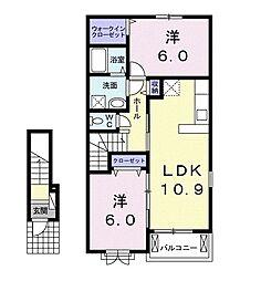 ラヴィベル 2階2LDKの間取り