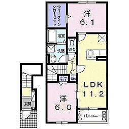 シェラメス I 2階2LDKの間取り