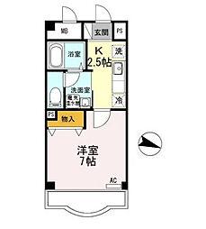 岩田マンション 1階1Kの間取り