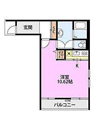 クレアーレ浜浦 1階ワンルームの間取り
