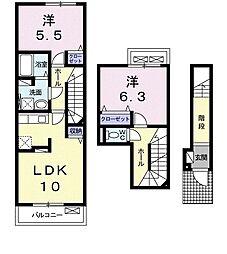 Primo 2階2LDKの間取り