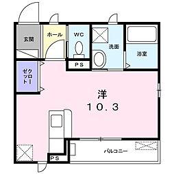 エレガント塚崎 2階1Kの間取り