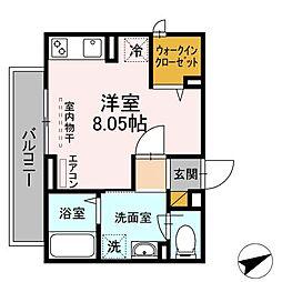 Casa Felice 1階ワンルームの間取り