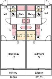 JR高崎線 吹上駅 徒歩17分の賃貸アパート 2階1Kの間取り