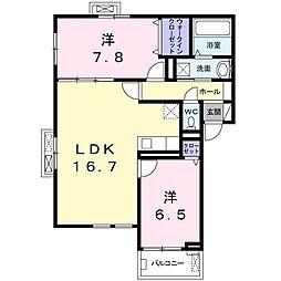 上郡2丁目アパート(024480501) 2階2LDKの間取り