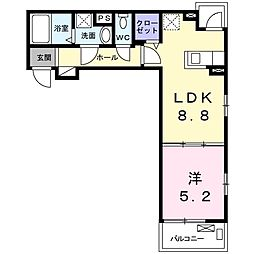 メゾン・スレーヌ 3階1DKの間取り