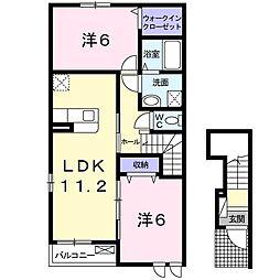 ラ・メルシー 2階2LDKの間取り