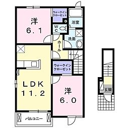 JR仙山線 陸前落合駅 バス22分 みやぎ台3丁目下車 徒歩2分の賃貸アパート 2階2LDKの間取り