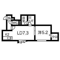 札幌市営東豊線 学園前駅 徒歩9分の賃貸アパート 3階1DKの間取り