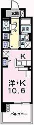 クレール姫路II 6階1Kの間取り