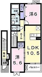 ベルベット・ヒル 2階2LDKの間取り