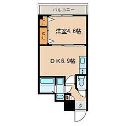 仮称)中央区弁天3丁目計画 1階1DKの間取り