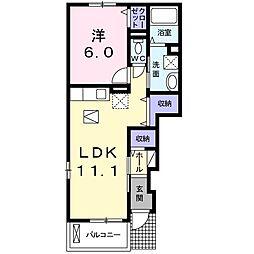 カーサフィオーレB 1階1LDKの間取り
