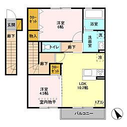 JR京浜東北・根岸線 北浦和駅 バス19分 北宿停留所下車 徒歩9分の賃貸アパート 2階2LDKの間取り