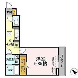 (仮称)D-room幕張本郷3ー4 1階1Kの間取り