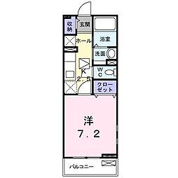 エーデルハイム仙田 1階1Kの間取り