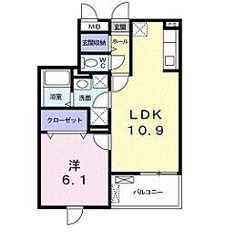 アルカンシェル II 2階1LDKの間取り