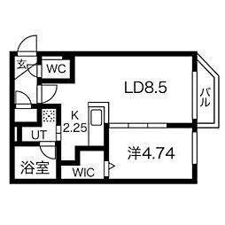 札幌市営東西線 南郷7丁目駅 徒歩4分の賃貸マンション 2階1LDKの間取り