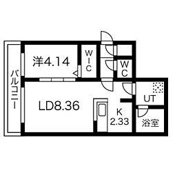 札幌市営東西線 南郷7丁目駅 徒歩4分の賃貸マンション 3階1LDKの間取り