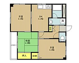 JR川越線 日進駅 徒歩3分の賃貸マンション 3階3DKの間取り