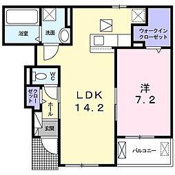 JR関西本線 大和小泉駅 徒歩20分の賃貸アパート 1階1LDKの間取り