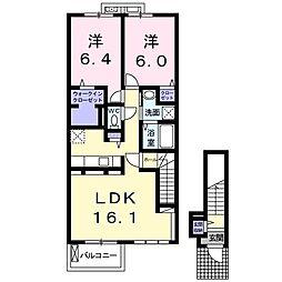 JR仙山線 陸前落合駅 バス30分 みやぎ台3丁目下車 徒歩5分の賃貸アパート 2階2LDKの間取り
